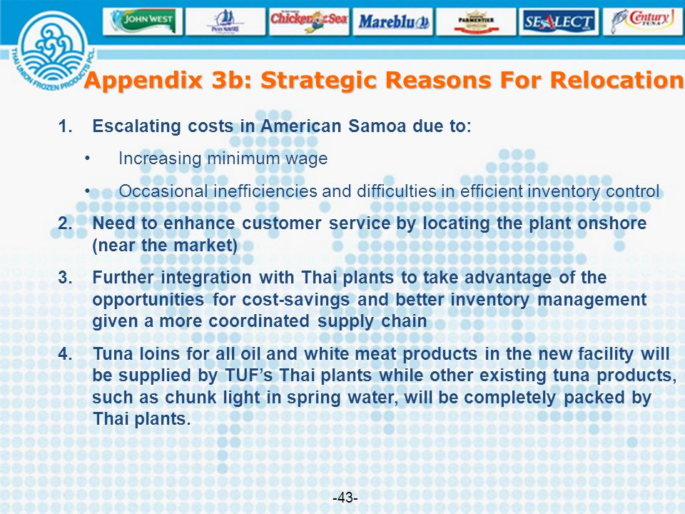 Appendix 3b: Strategic Reasons For Relocation