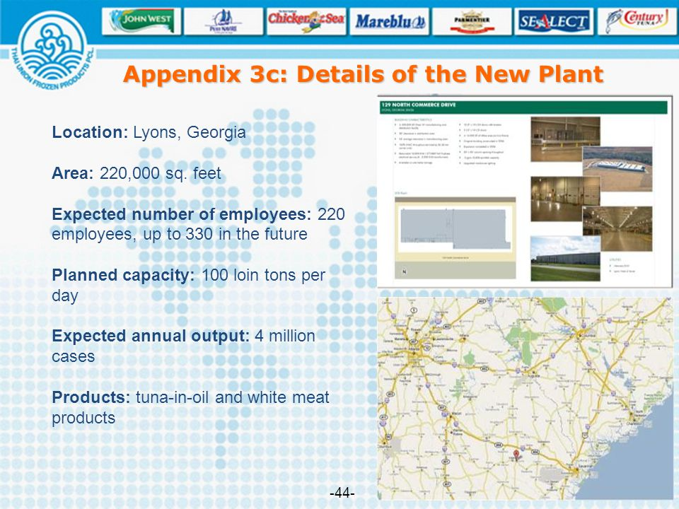 Appendix 3c: Details of the New Plant