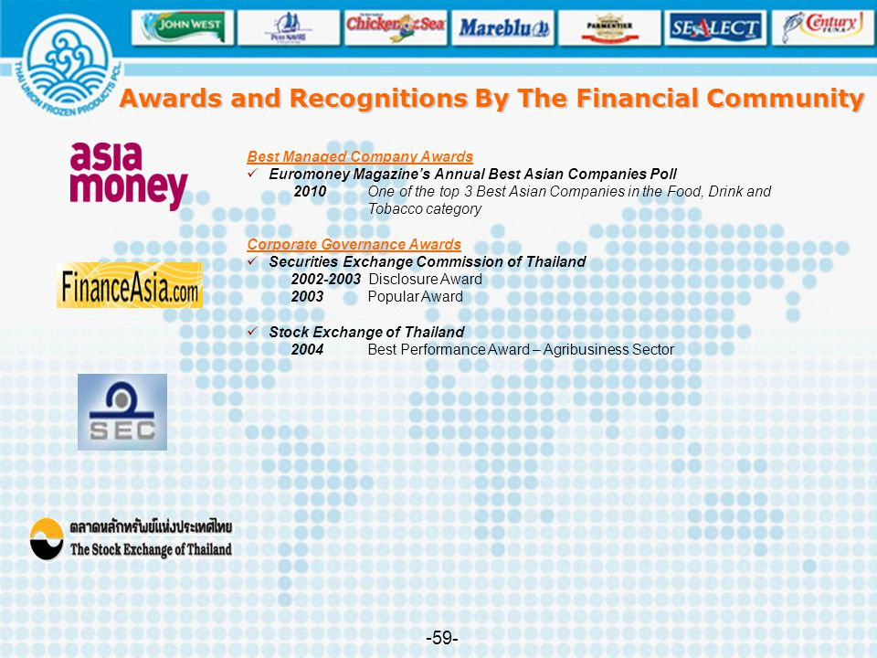 Awards and Recognitions By The Financial Community