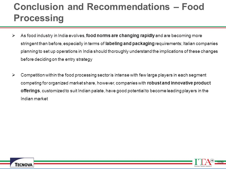 Conclusion and Recommendations – Food Processing