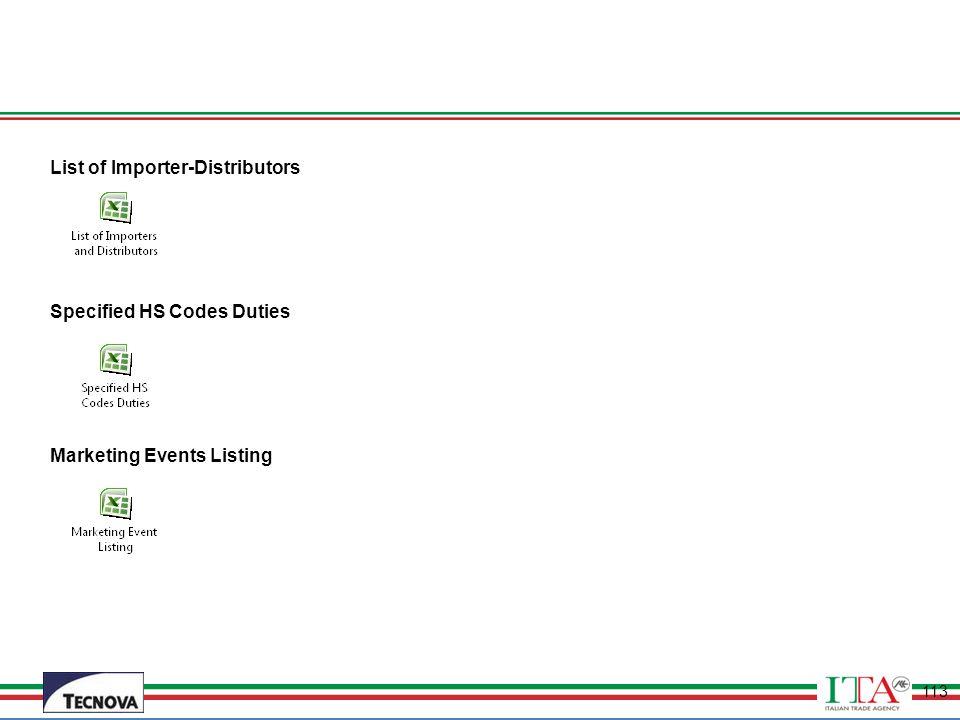 List of Importer-Distributors