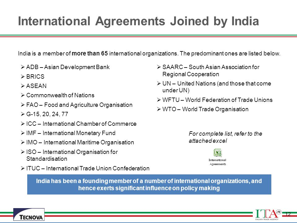 International Agreements Joined by India