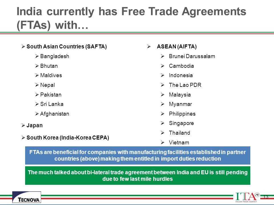 India currently has Free Trade Agreements (FTAs) with…