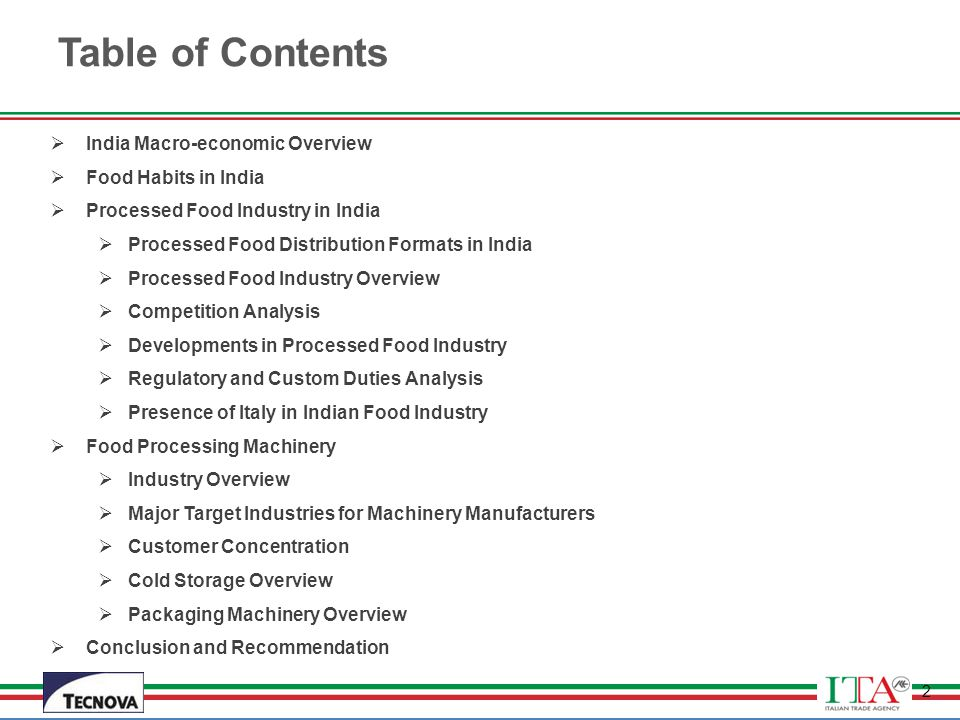 Table of Contents India Macro-economic Overview Food Habits in India