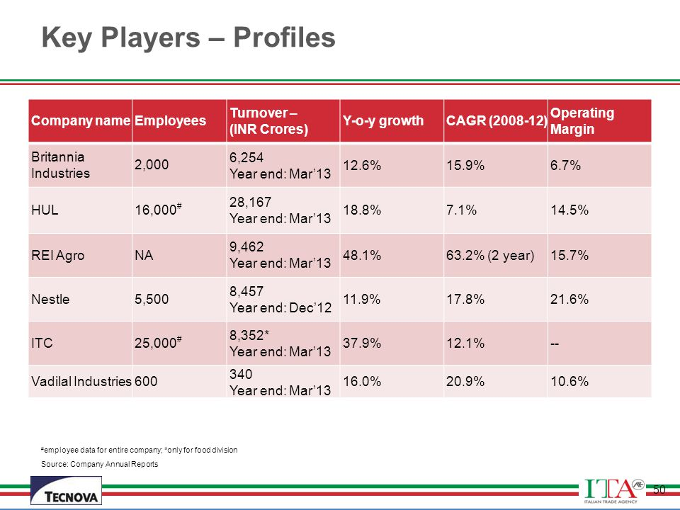 Key Players – Profiles Company name Employees Turnover – (INR Crores)