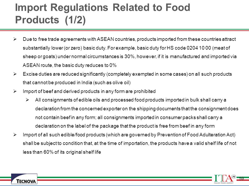Import Regulations Related to Food Products (1/2)