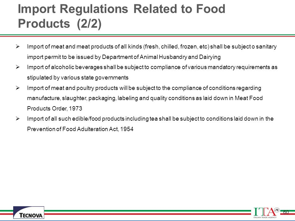 Import Regulations Related to Food Products (2/2)