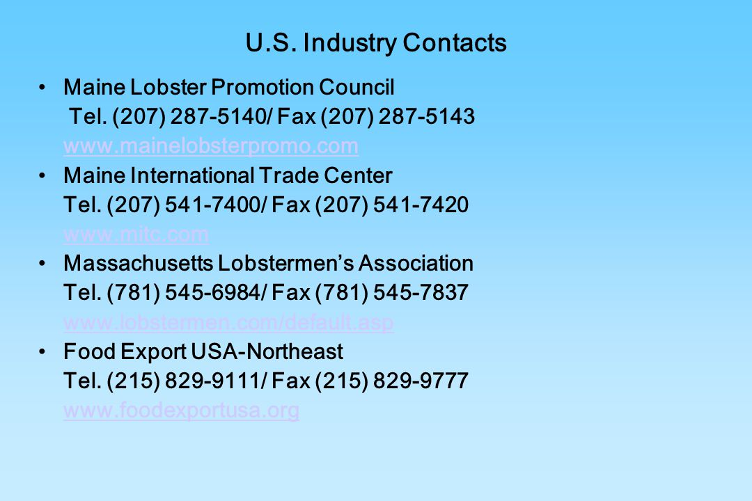 U.S. Industry Contacts Maine Lobster Promotion Council