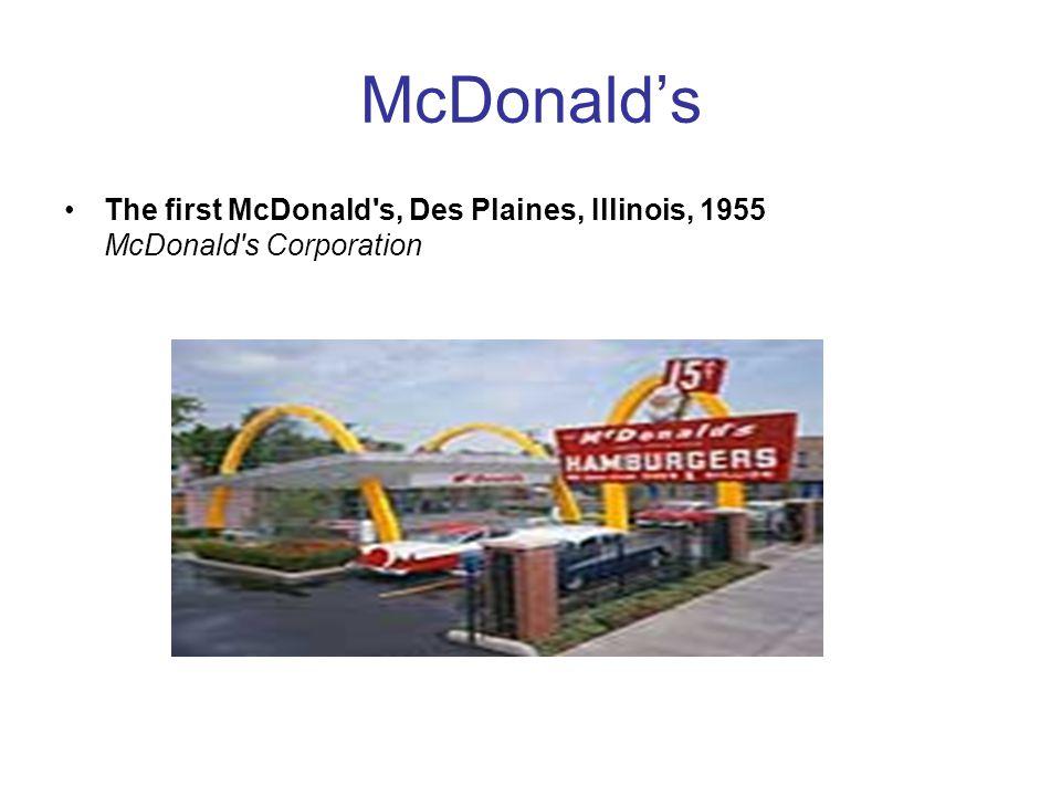 McDonald's The first McDonald s, Des Plaines, Illinois, 1955 McDonald s Corporation