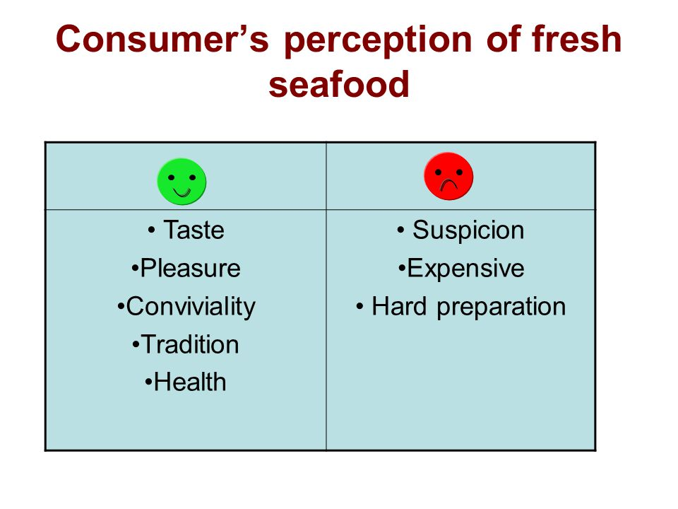 Consumer's perception of fresh seafood