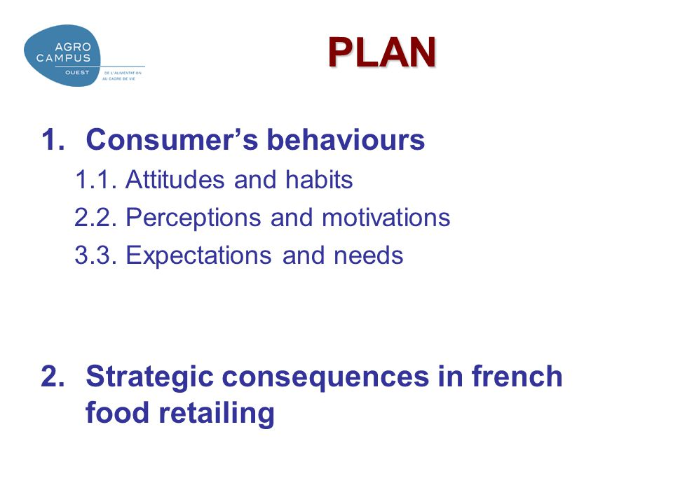 PLAN Consumer's behaviours