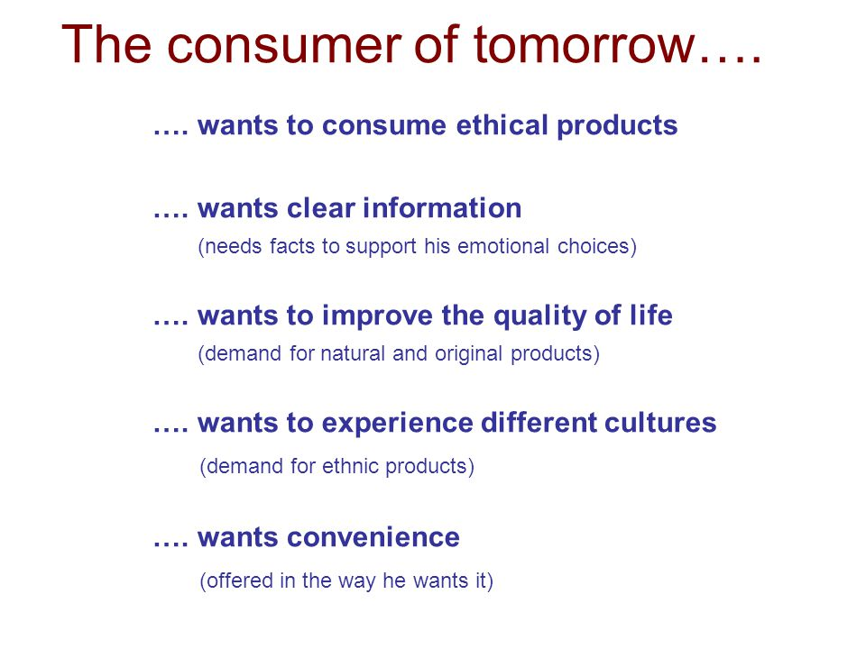 The consumer of tomorrow….
