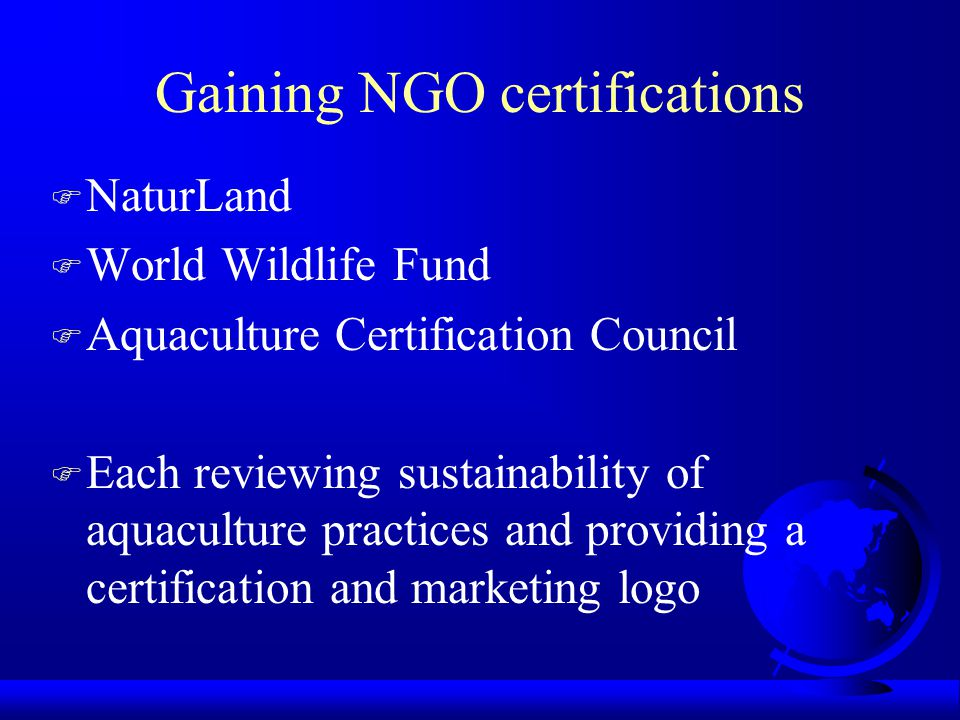 Gaining NGO certifications