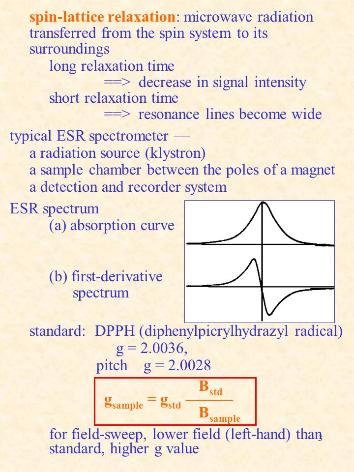 spin-lattice relaxation: microwave radiation