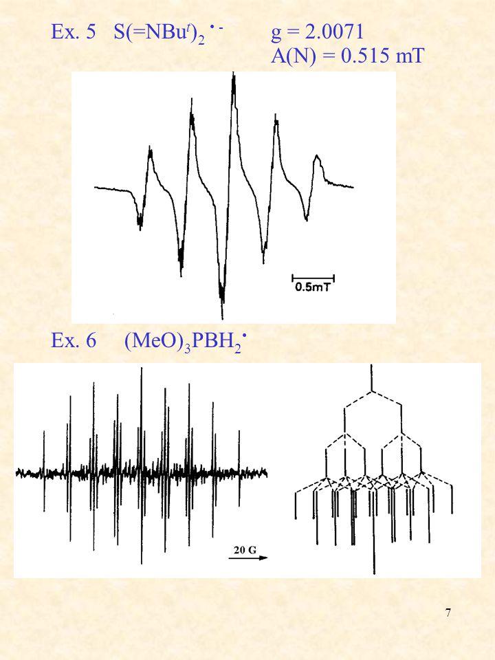 Ex. 5 S(=NBut)2 • - g = 2.0071 A(N) = 0.515 mT Ex. 6 (MeO)3PBH2•