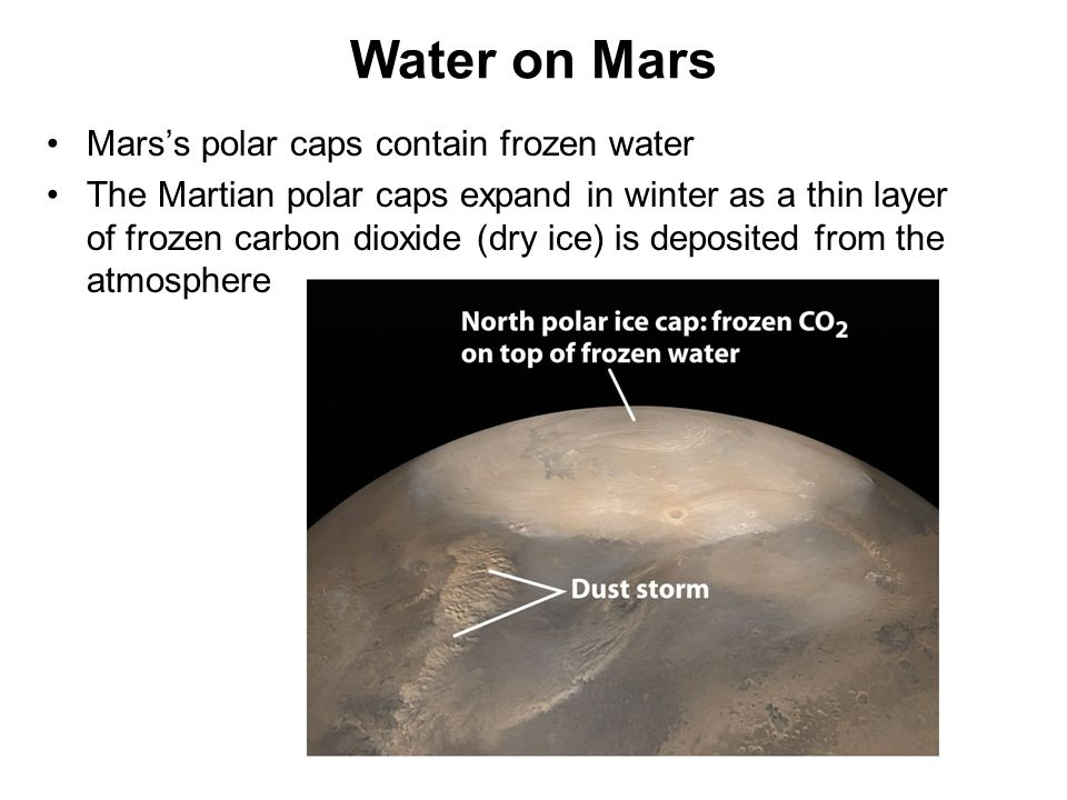 Water on Mars Mars's polar caps contain frozen water