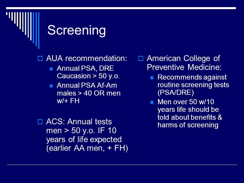 Screening AUA recommendation: