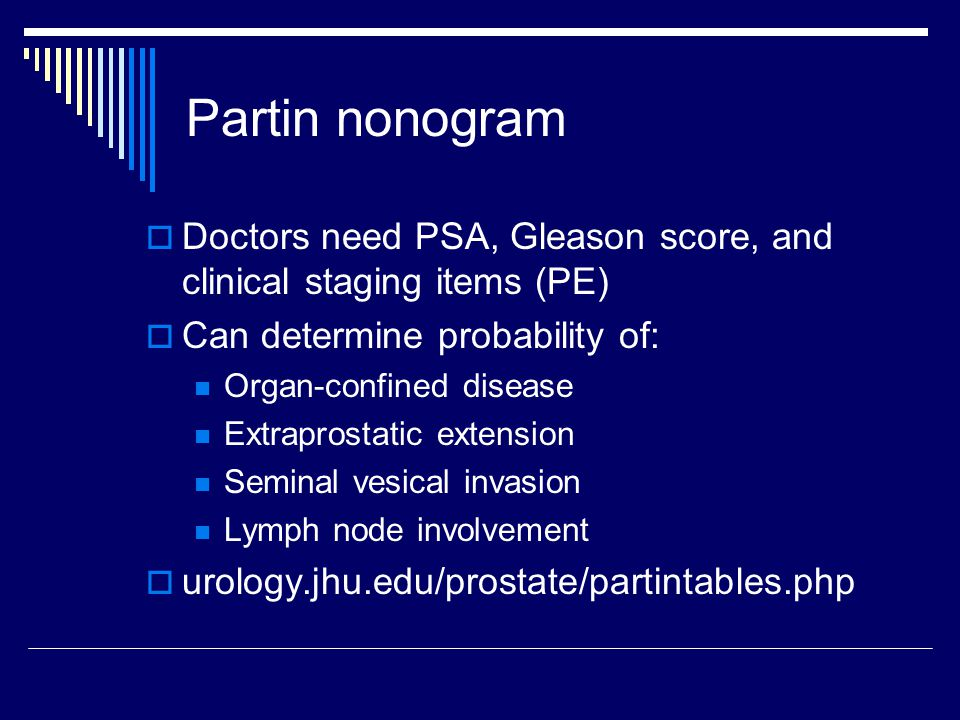 Partin nonogram Doctors need PSA, Gleason score, and clinical staging items (PE) Can determine probability of: