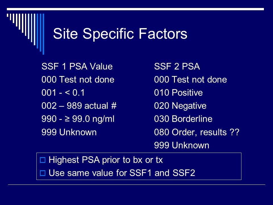 Site Specific Factors SSF 1 PSA Value 000 Test not done 001 - < 0.1