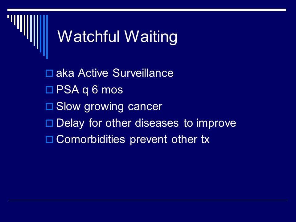 Watchful Waiting aka Active Surveillance PSA q 6 mos