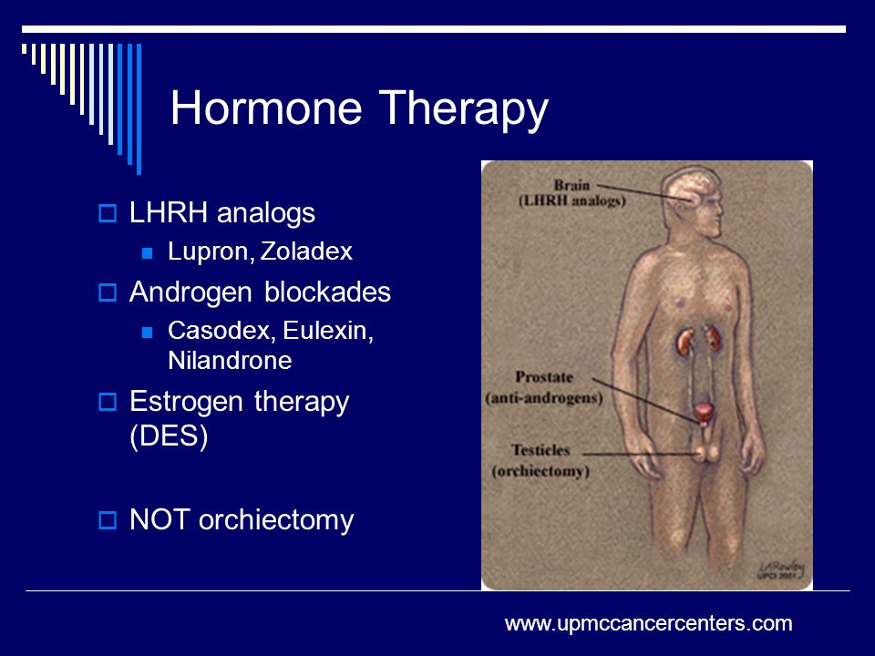 Hormone Therapy LHRH analogs Androgen blockades Estrogen therapy (DES)