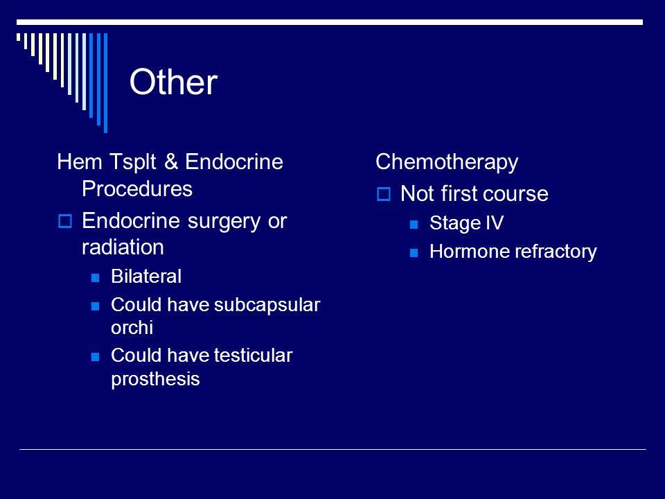 Other Hem Tsplt & Endocrine Procedures Endocrine surgery or radiation