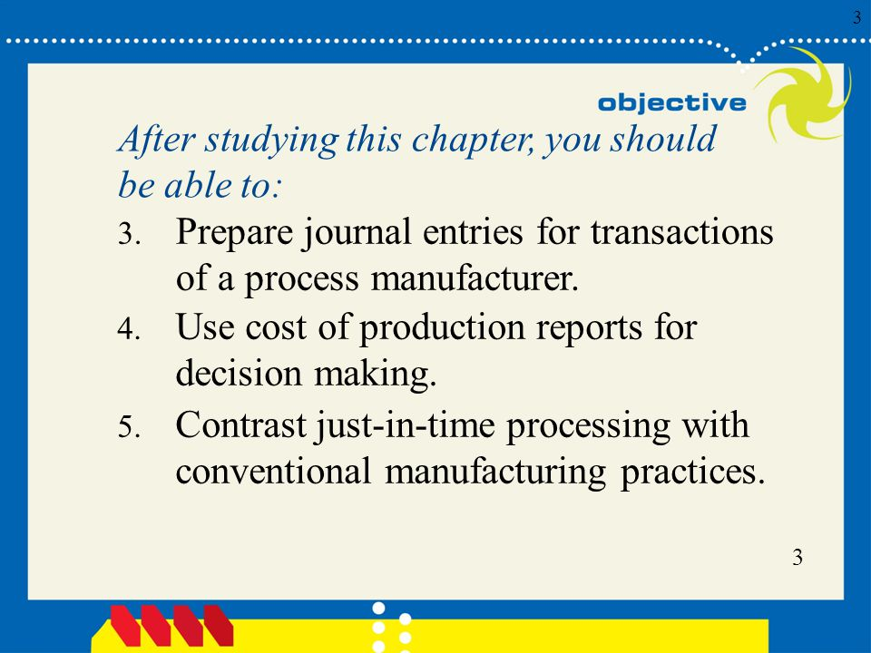 After studying this chapter, you should be able to: Prepare journal entries for transactions of a process manufacturer.