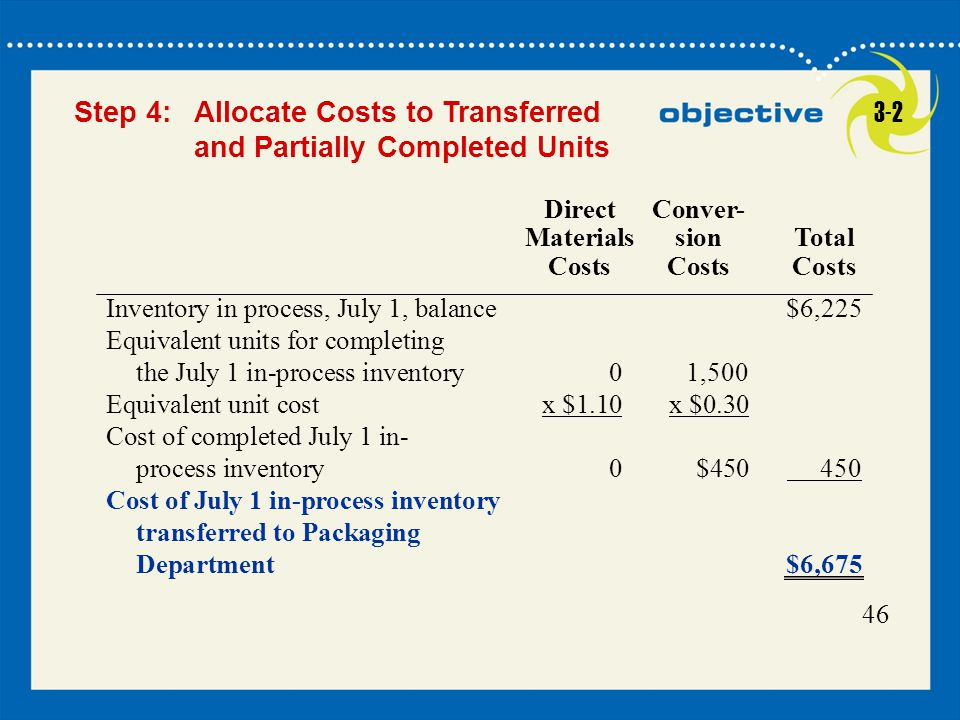 Step 4: Allocate Costs to Transferred and Partially Completed Units