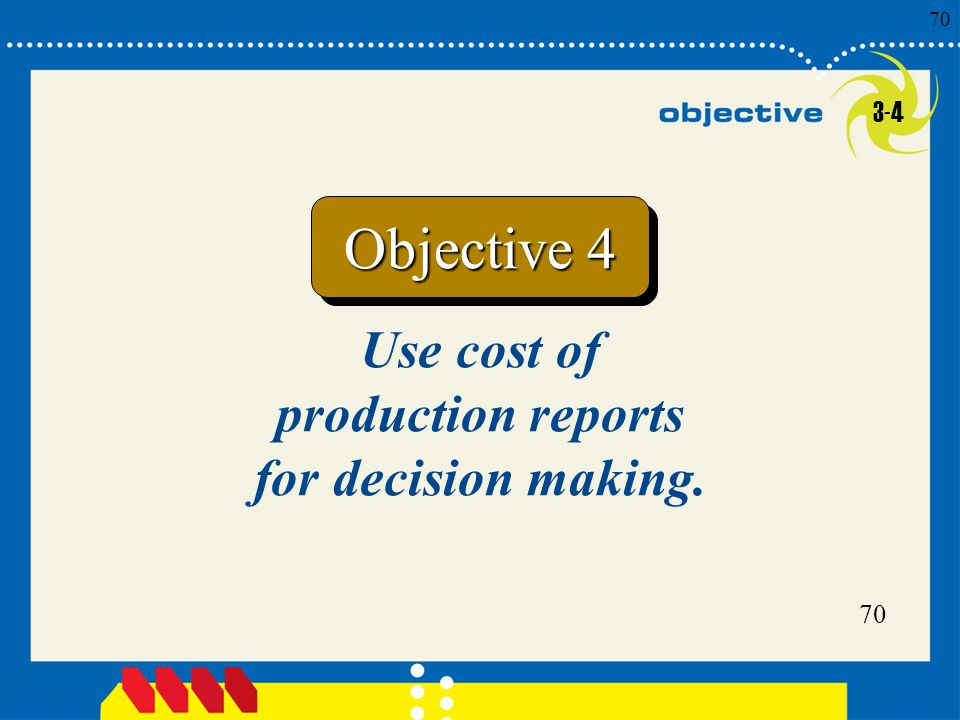 Use cost of production reports for decision making.