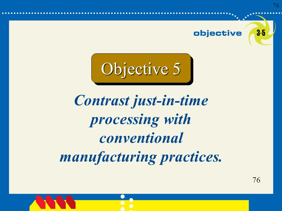3-5 Objective 5 Contrast just-in-time processing with conventional manufacturing practices.