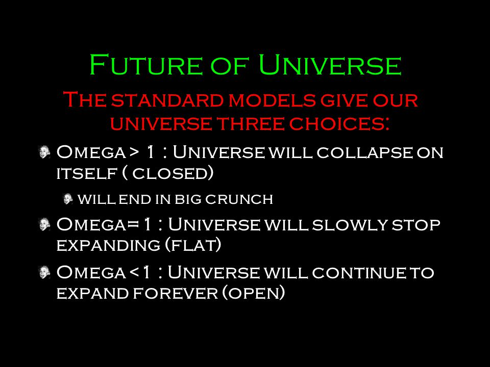 The standard models give our universe three choices: