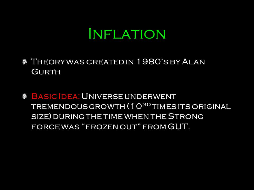 Inflation Theory was created in 1980's by Alan Gurth