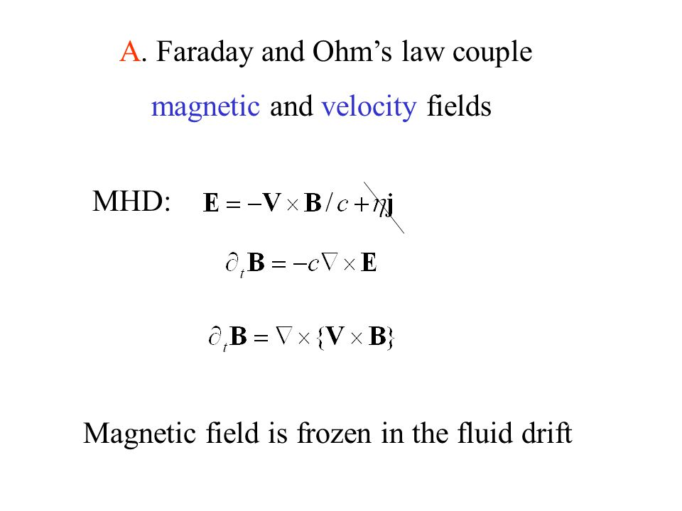 A. Faraday and Ohm's law couple magnetic and velocity fields