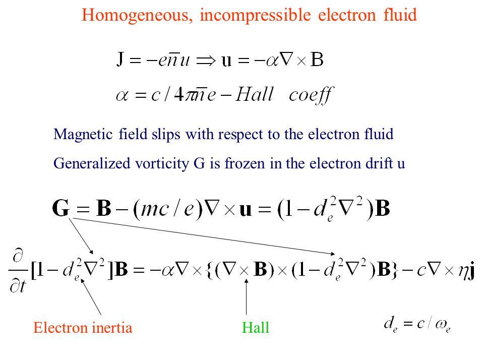 Homogeneous, incompressible electron fluid