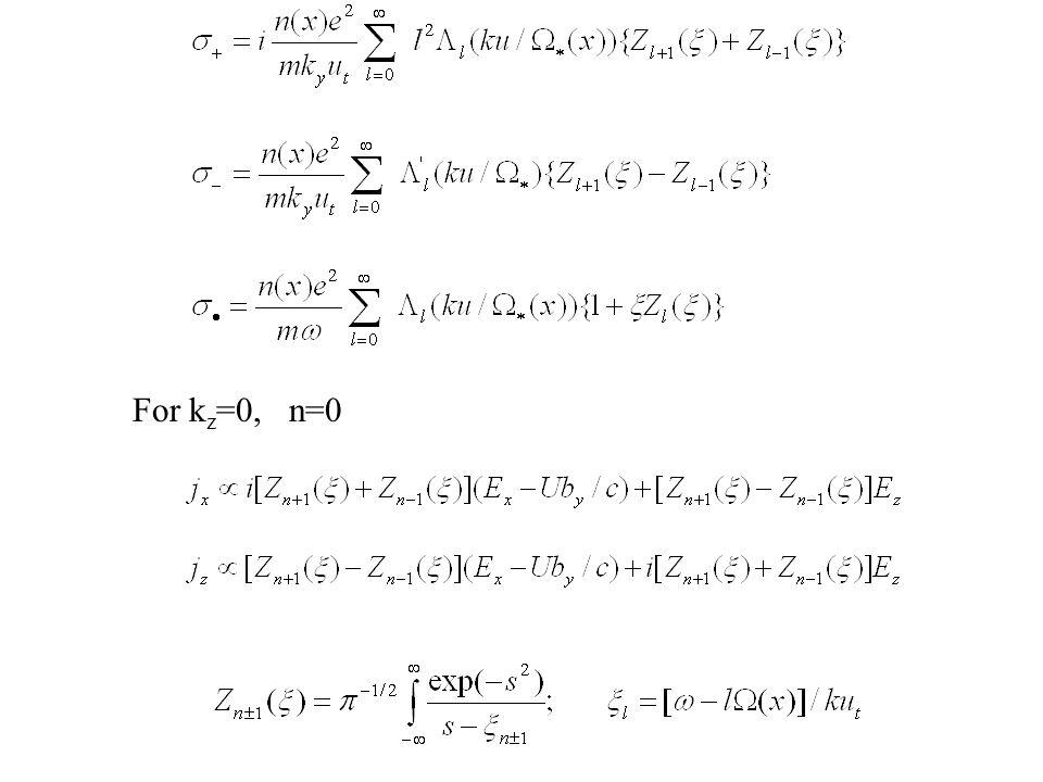 For kz=0, n=0 Resonances