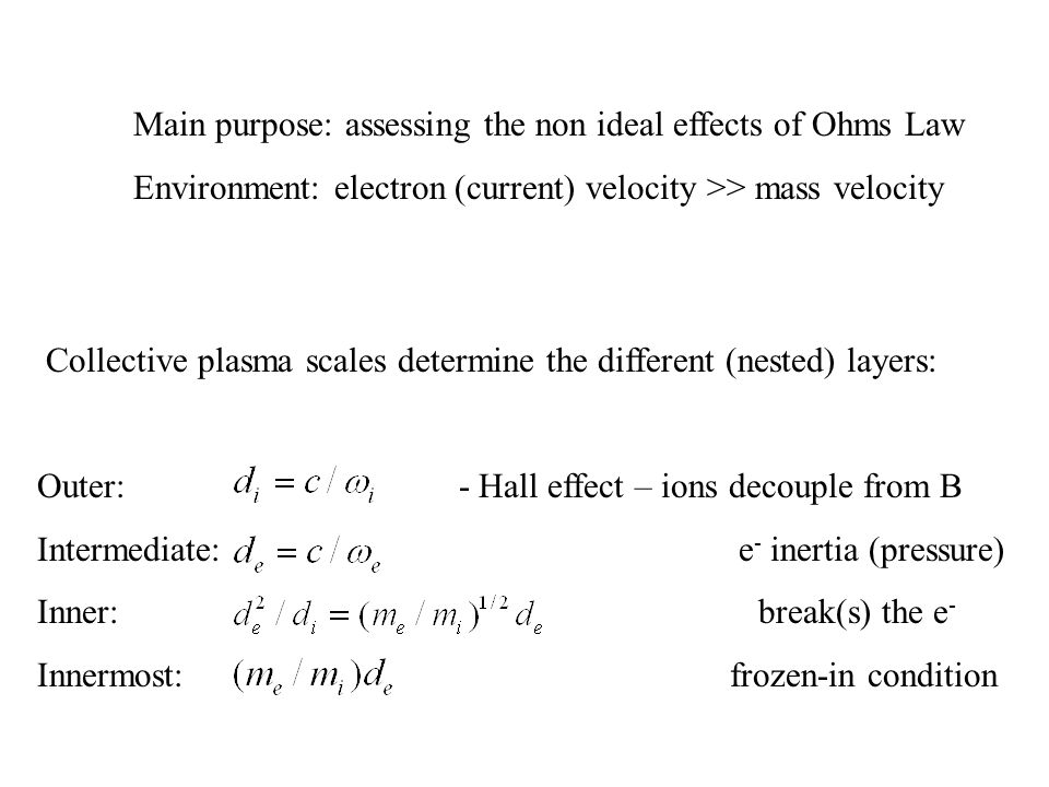 Main purpose: assessing the non ideal effects of Ohms Law