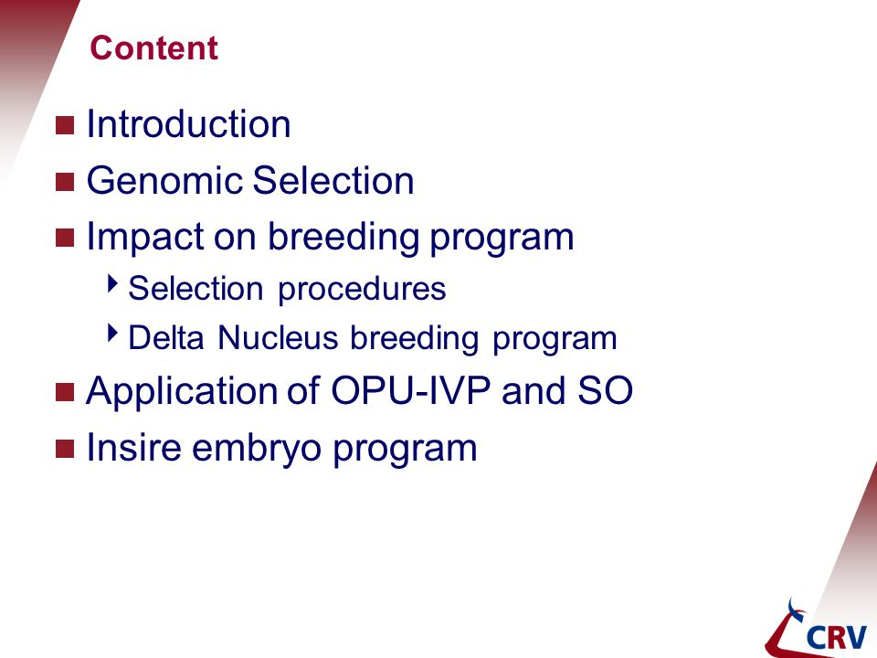 Impact on breeding program