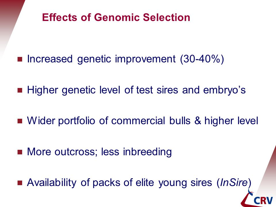Effects of Genomic Selection