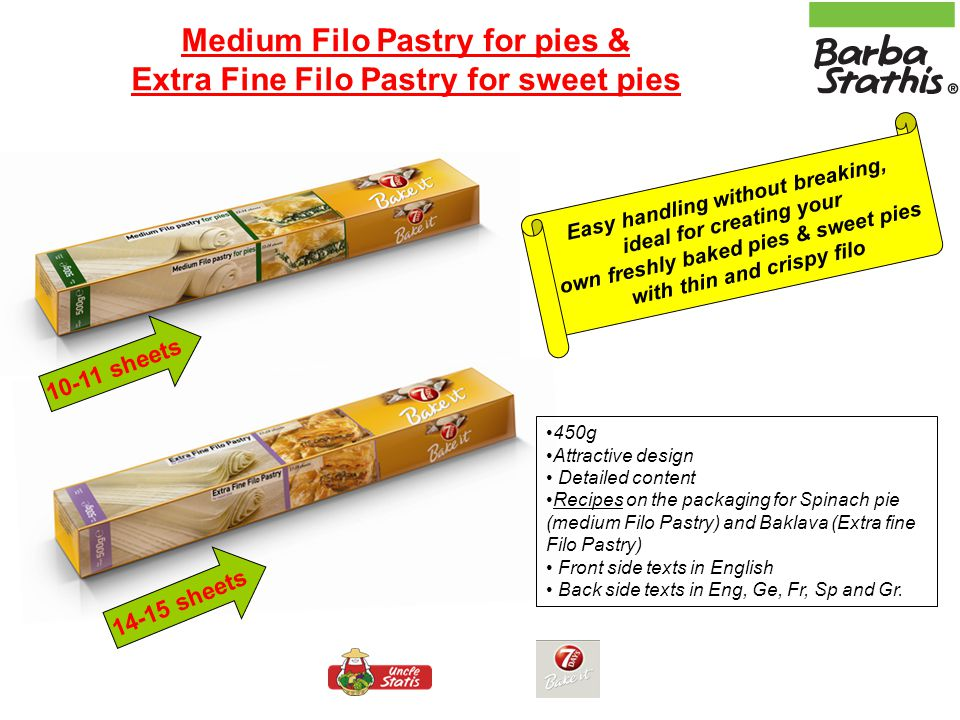 Medium Filo Pastry for pies & Extra Fine Filo Pastry for sweet pies