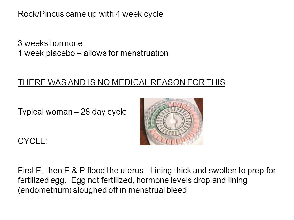Rock/Pincus came up with 4 week cycle