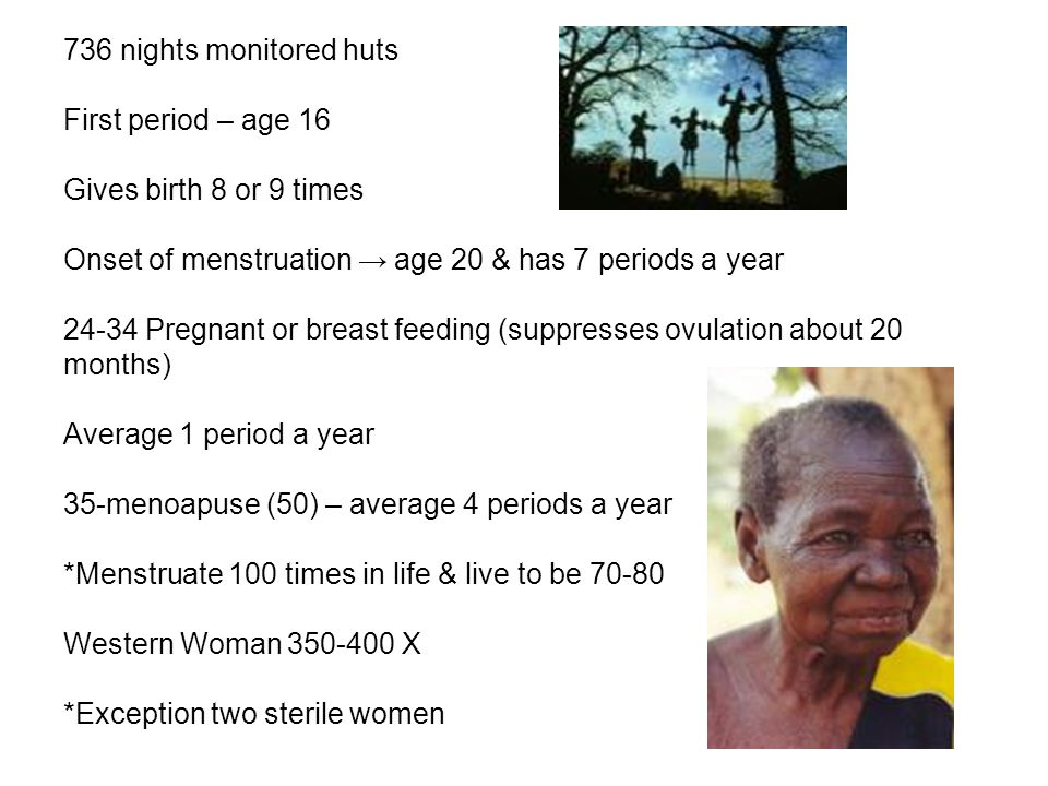 736 nights monitored huts First period – age 16. Gives birth 8 or 9 times. Onset of menstruation → age 20 & has 7 periods a year.