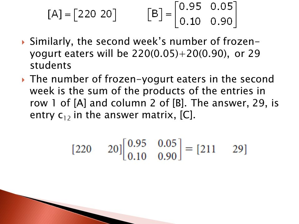 Similarly, the second week's number of frozen- yogurt eaters will be 220(0.05)+20(0.90), or 29 students
