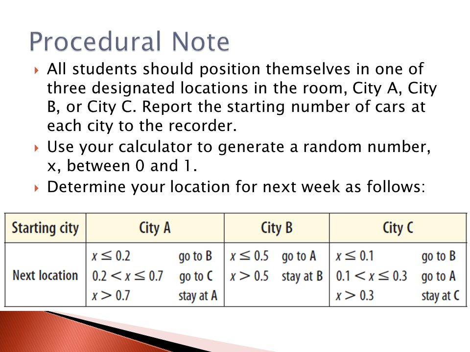 Procedural Note