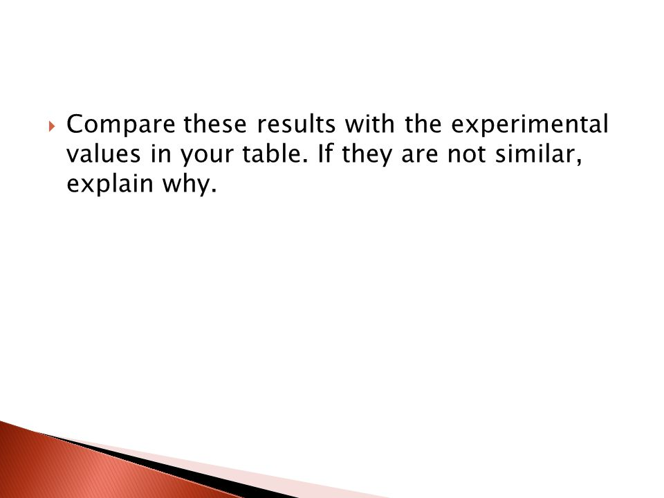 Compare these results with the experimental values in your table