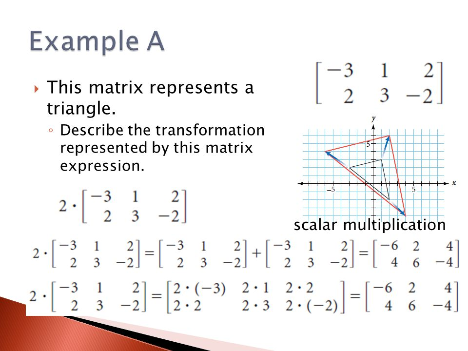 Example A This matrix represents a triangle. scalar multiplication