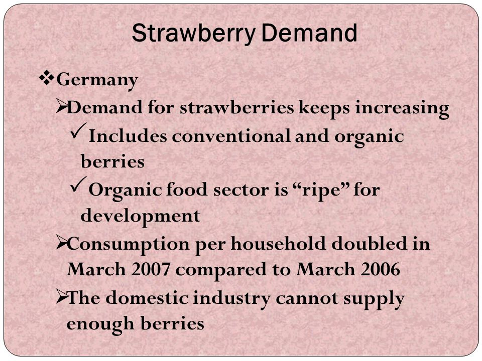 Strawberry Demand Germany Demand for strawberries keeps increasing