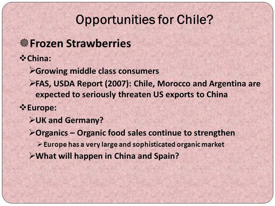 Opportunities for Chile