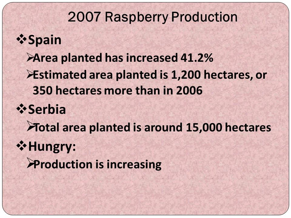 2007 Raspberry Production Spain Serbia Hungry: