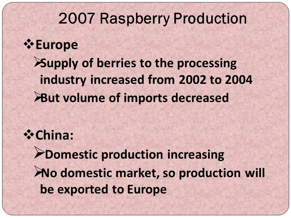 2007 Raspberry Production Europe China: Domestic production increasing