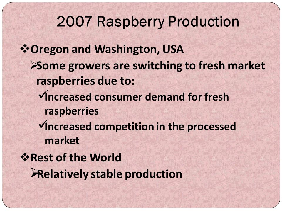 2007 Raspberry Production Oregon and Washington, USA